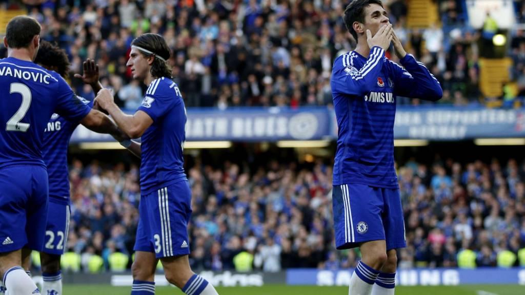 Chelsea striker Oscar celebrates