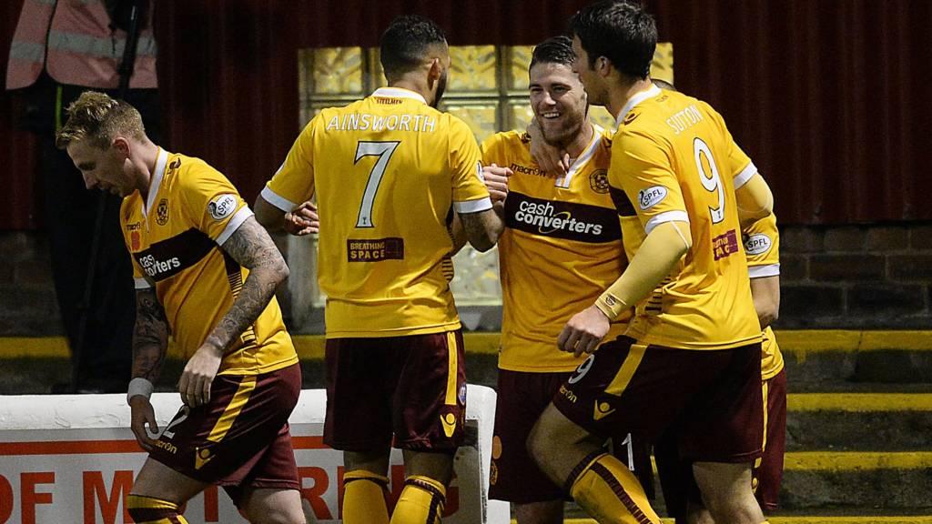 Motherwell celebrate Iain Vigurs' goal