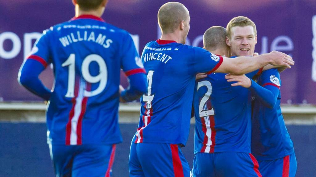 Inverness goalscorer Billy McKay (right) celebrates scoring the equalising goal with team-mates
