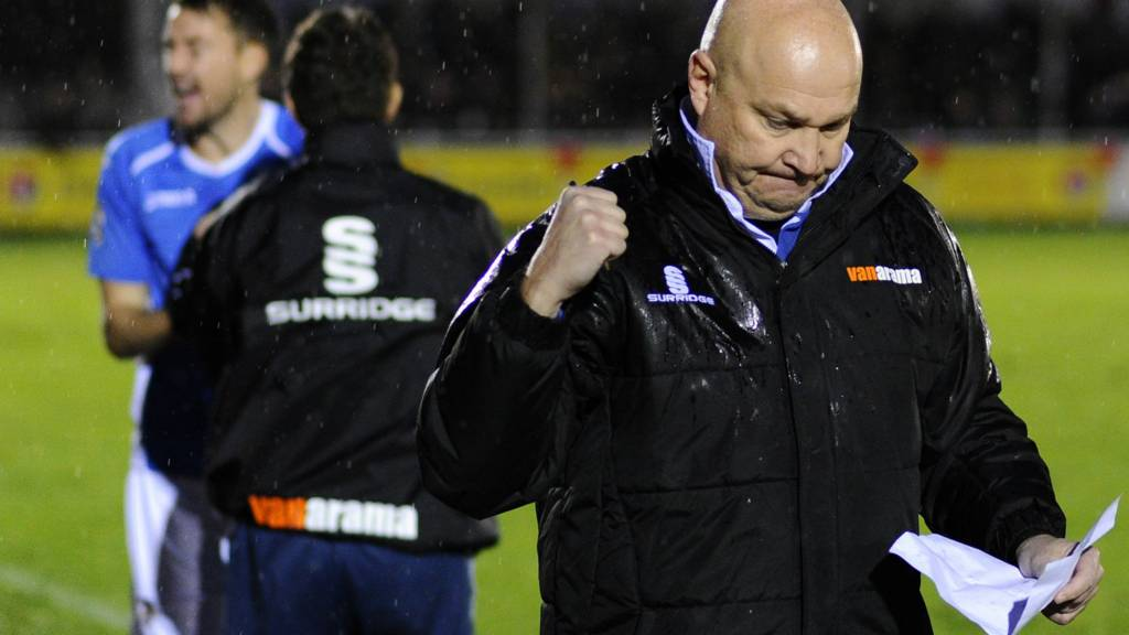 Eastleigh manager Richard Hill celebrates
