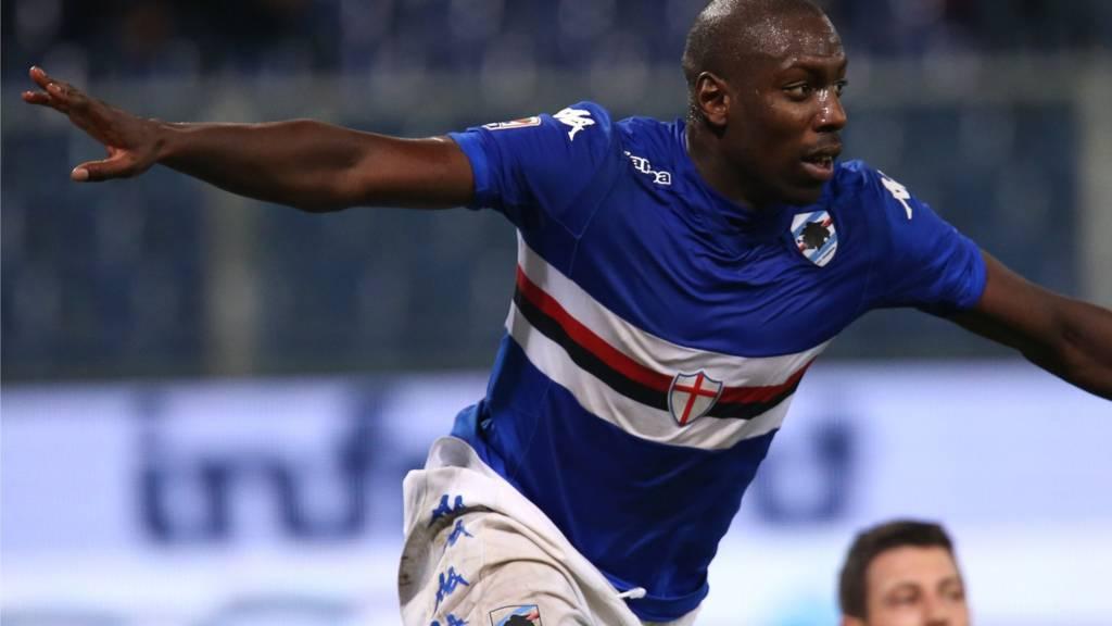 Stefano Okaka celebrates