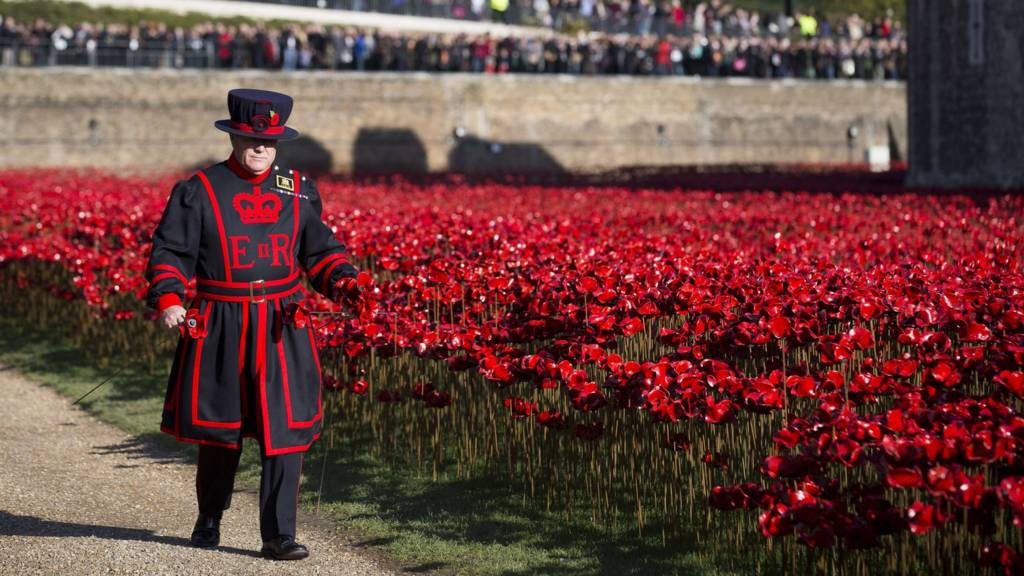 "A Yeoman Warder walks past the ""Blood Swept Lands and Seas of Red"" installation"
