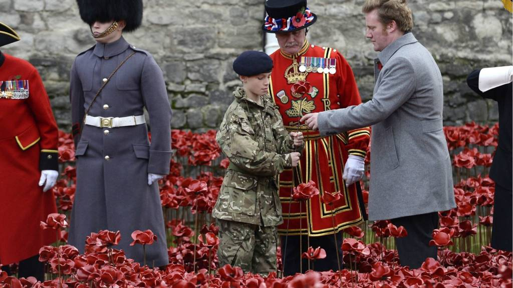 Final poppy planted by Paul Cummins and cadet