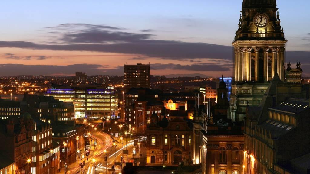Leeds skyline at night
