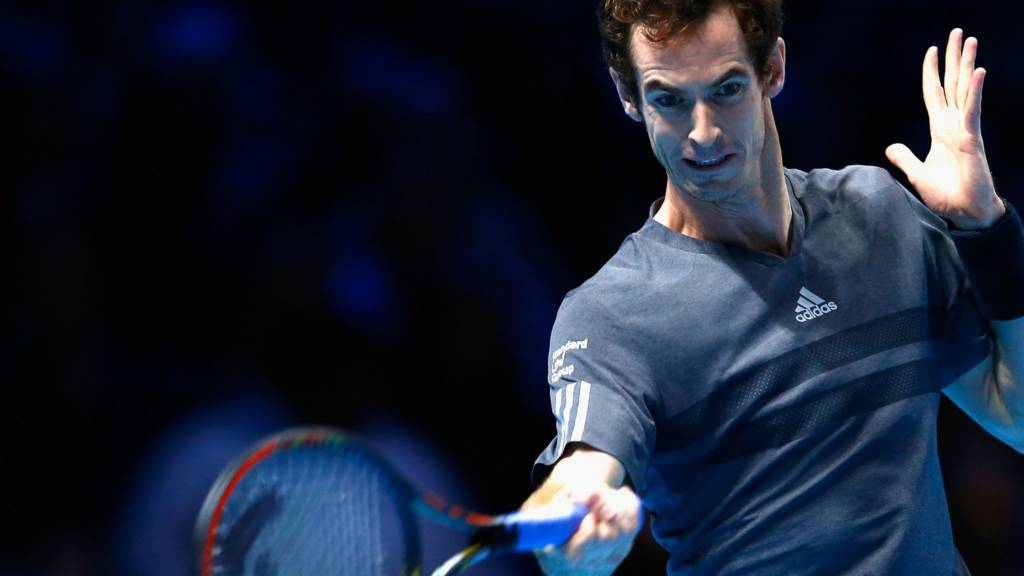 Andy Murray hits a return