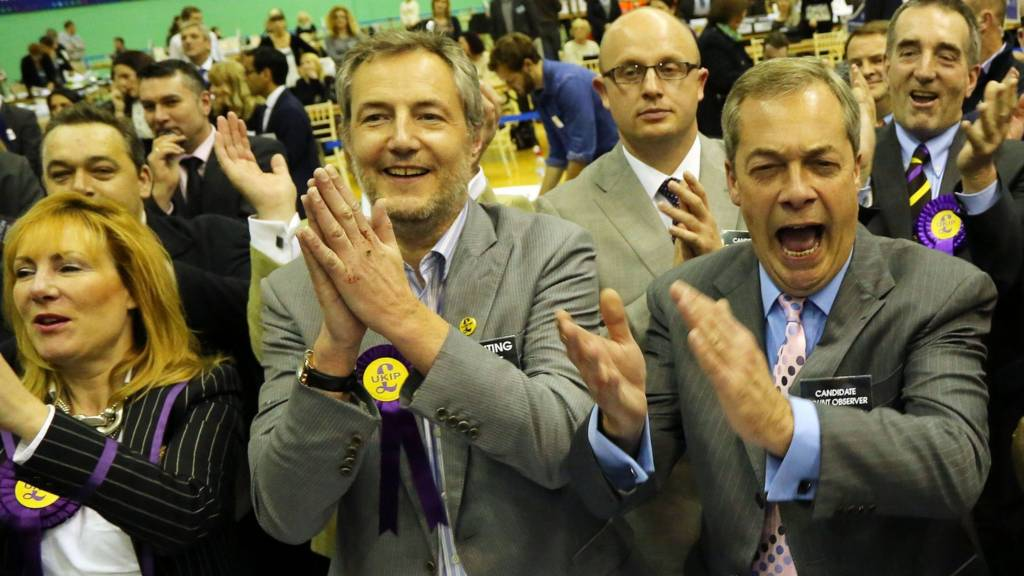 UKIP Leader Nigel Farage and supporters celebrate winning the Rochester and Strood by-election