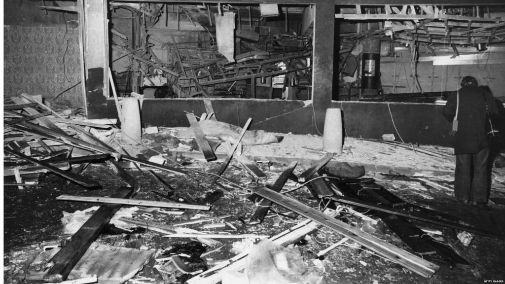 Remnants of the Mulberry Bush pub after the bomb