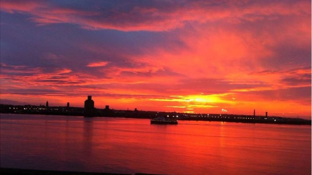 sunset over Mersey