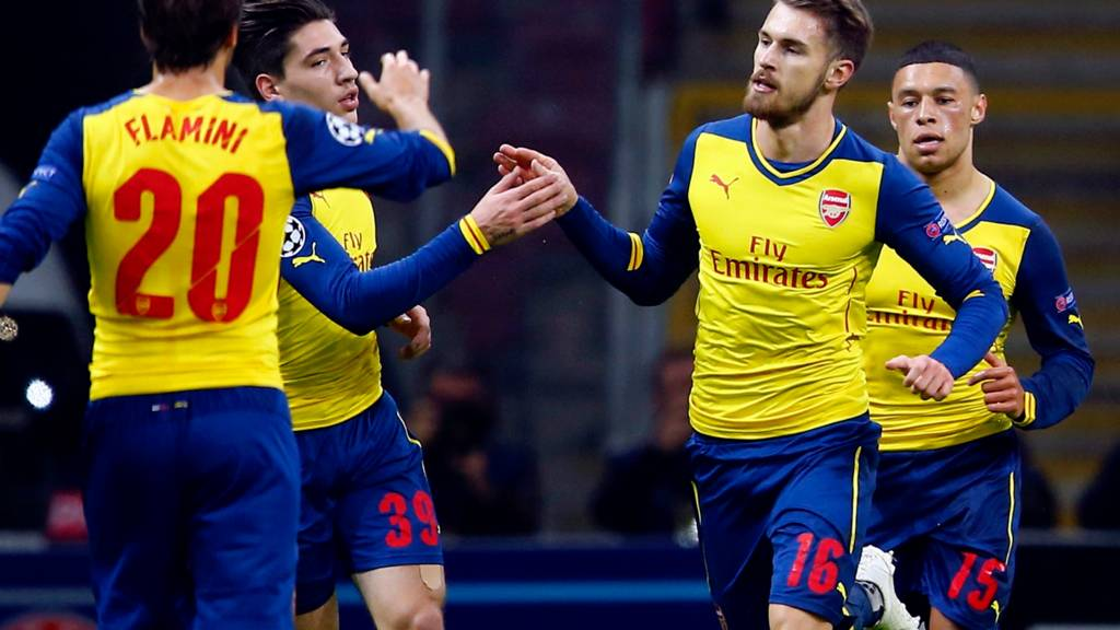 Aaron Ramsey celebrates his goal for Arsenal