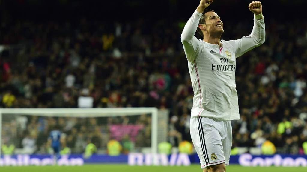 Cristiano Ronaldo celebrates after another win for Real Madrid