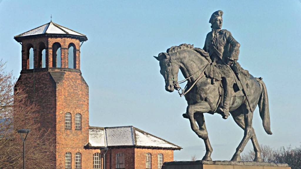 Derby Silk Mill and Bonnie Prince Charlie statue