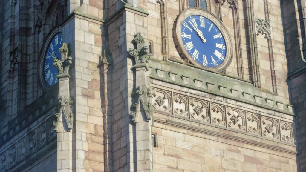 All Saints Cathedral Derby clock face