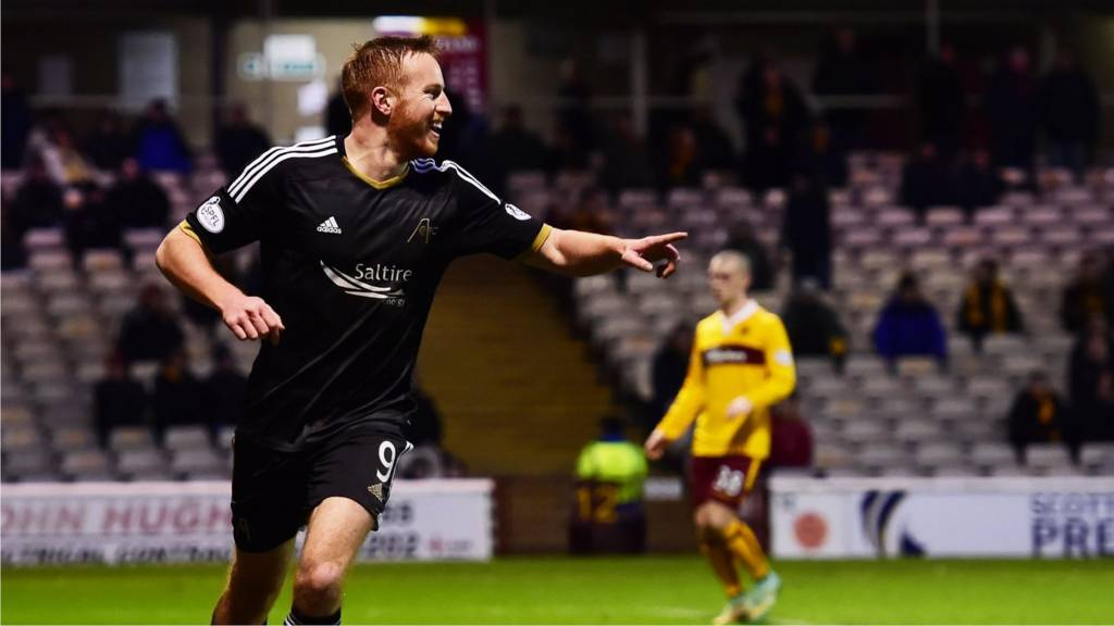 Adam Rooney celebrates after scoring for Aberdeen against Motherwell