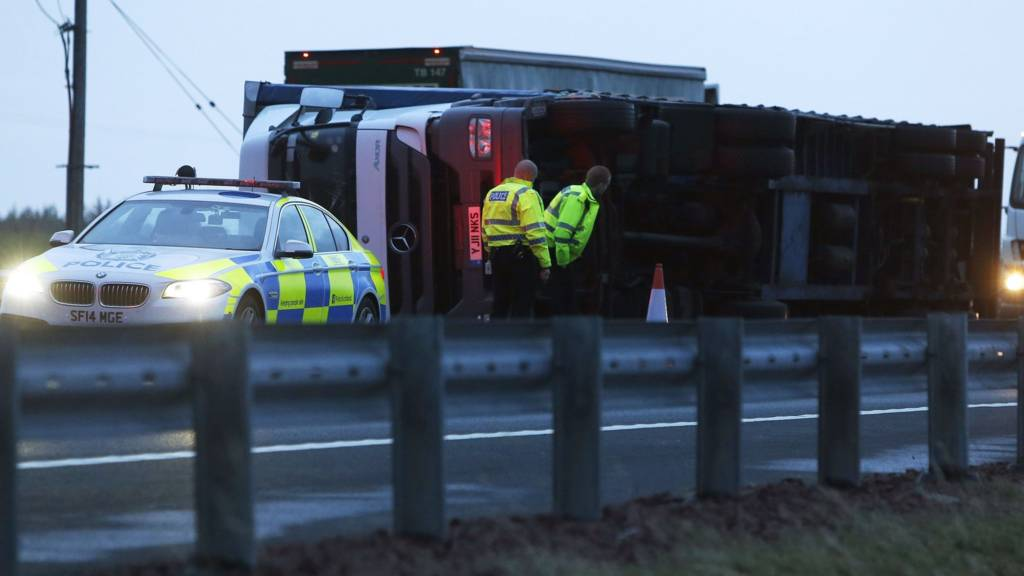 M74 lorry blown over