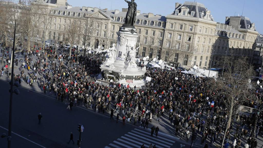 People start gathering at Republique square before the demonstration, in Paris, France, 11 January 2015