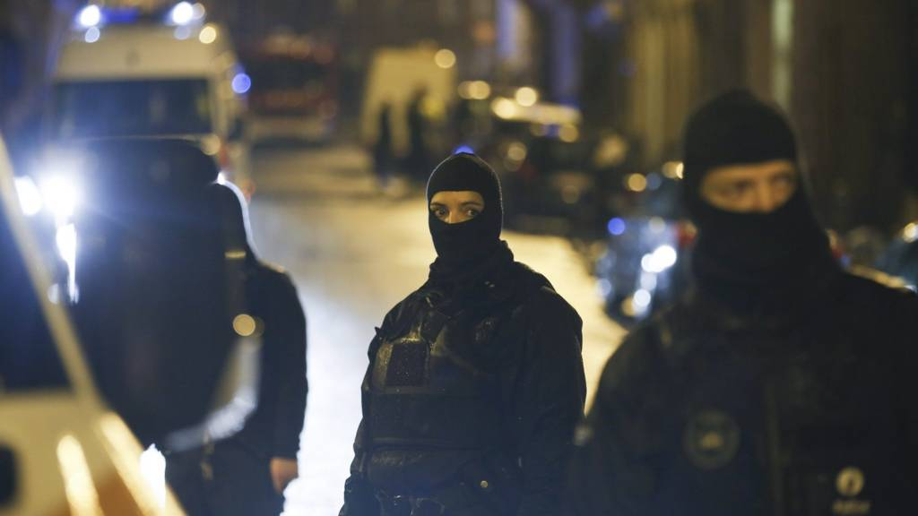 Belgian police block a street in the eastern town of Verviers, 15 January
