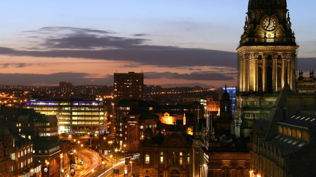 Leeds sunset skyline