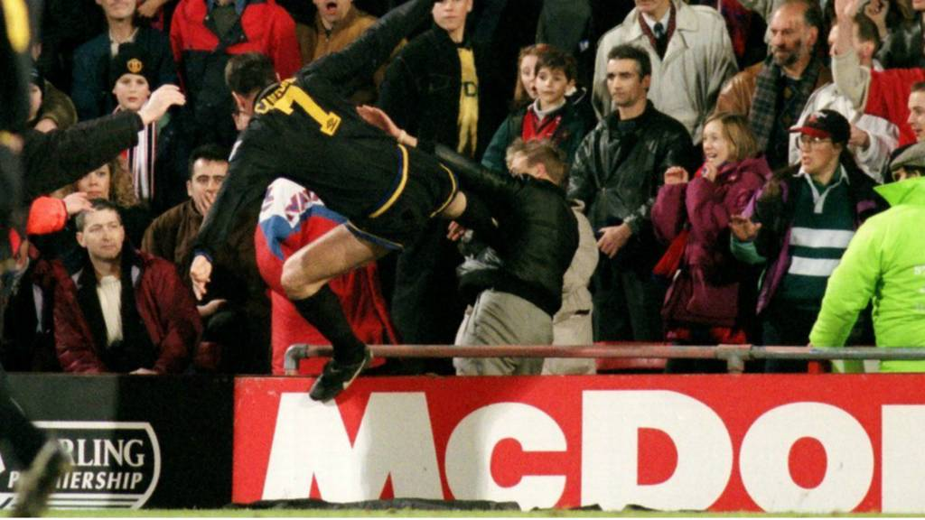 Eric Cantona kicks the Crystal Palace fan