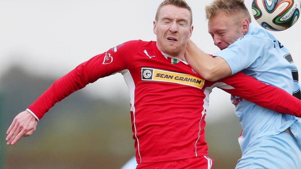 Action from Cliftonville against Ballymena