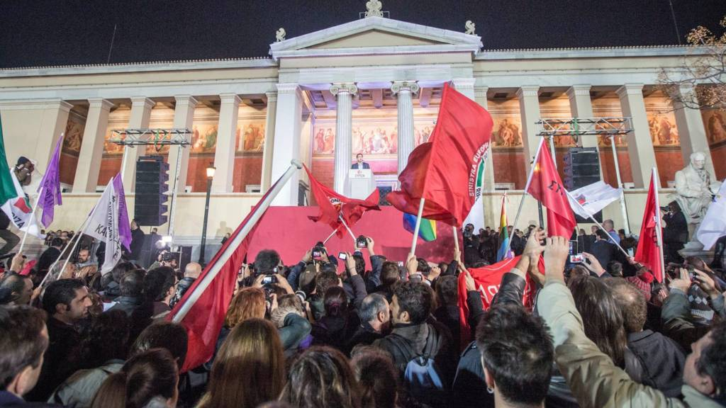 Syriza supporters celebrate in Athens. 25 Jan 2015