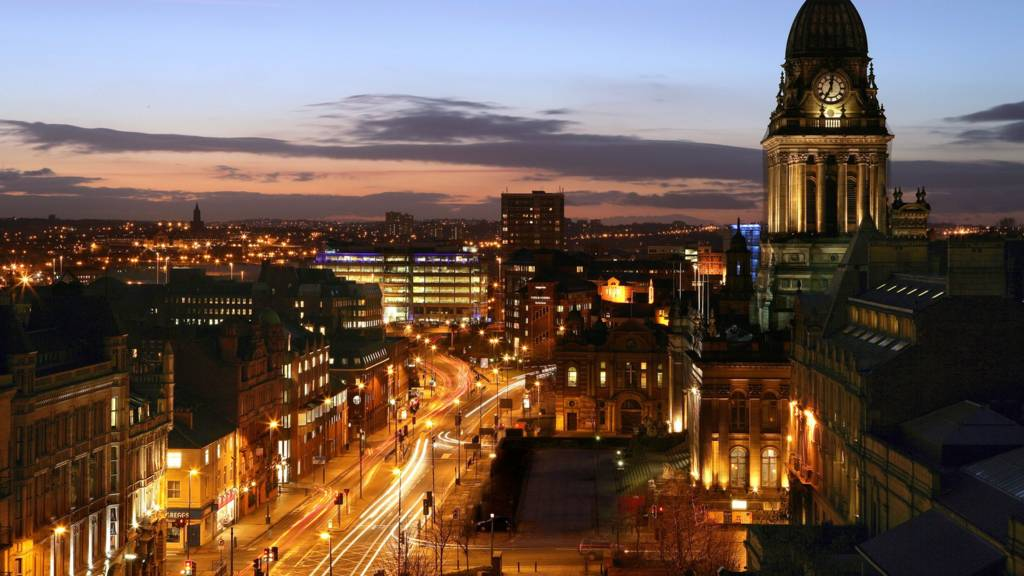 Leeds city centre and Headrow at night