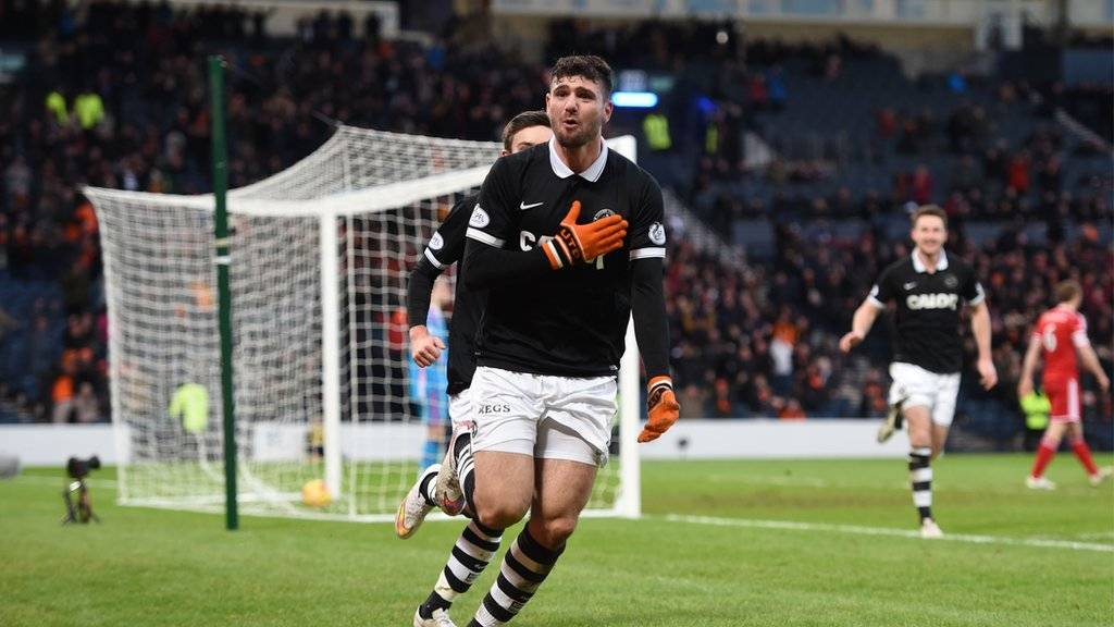 Nadir Ciftci celebrates scoring the winner for Dundee United