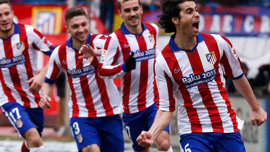 Tiago celebrates for Atletico Madrid
