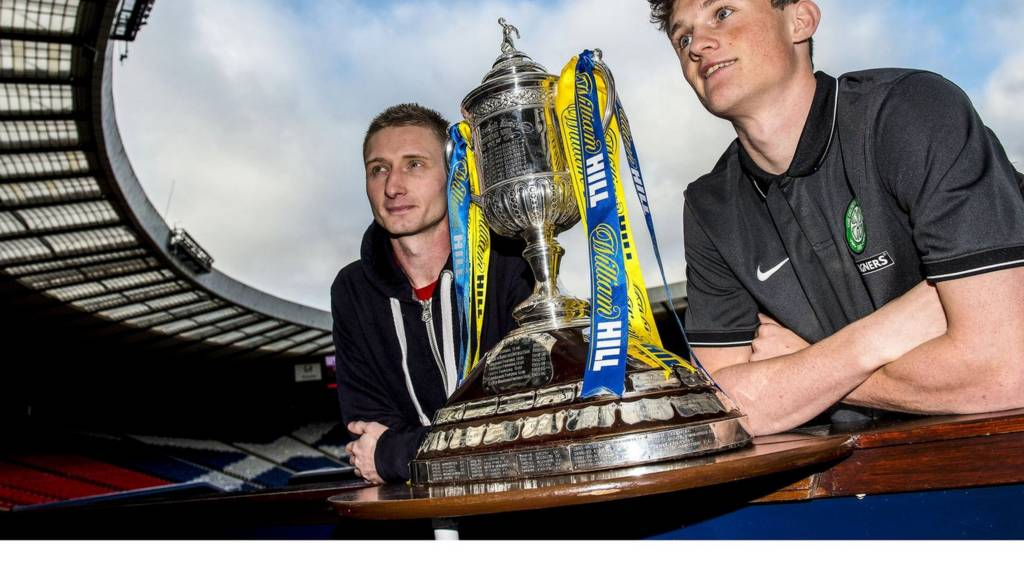 Dundee Utd's Chris Erskine (left) and Celtic's Liam Henderson with the Scottish Cup at Hampden