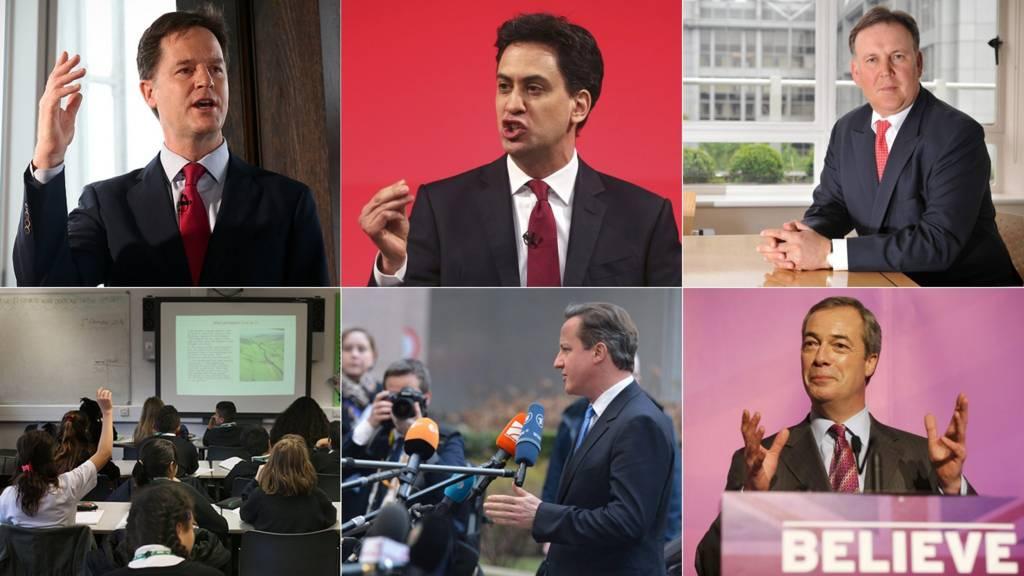 Nick Clegg, Ed Miliband, Lord Fink, school classroom, David Cameron, Nigel Farage
