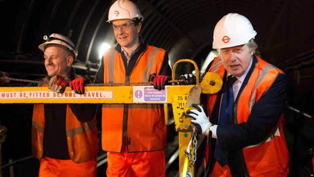 Boris Johnson, right, with George Osborne, centre