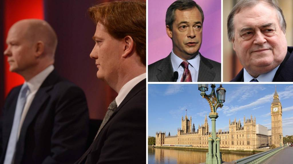 Composite image of William Hague, Danny Alexander, Lord Prescott and Nigel Farage and the Houses of Parliament