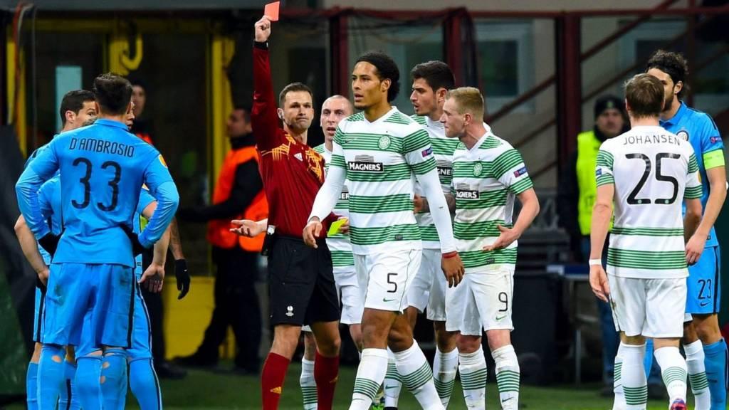 Celtic defender Virgil van Dijk is sent off against Inter Milan