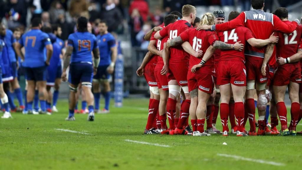 Wales' players celebrate