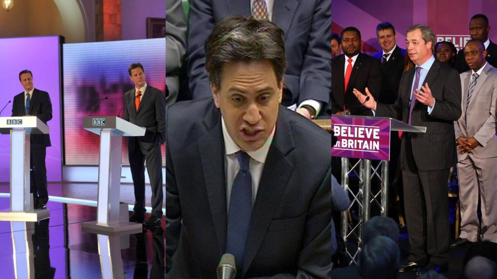 David Cameron and Nick Clegg in 2010 TV election debate, Ed Miliband at PMQs on Wednesday and Nigel Farage making a speech on Wednesday