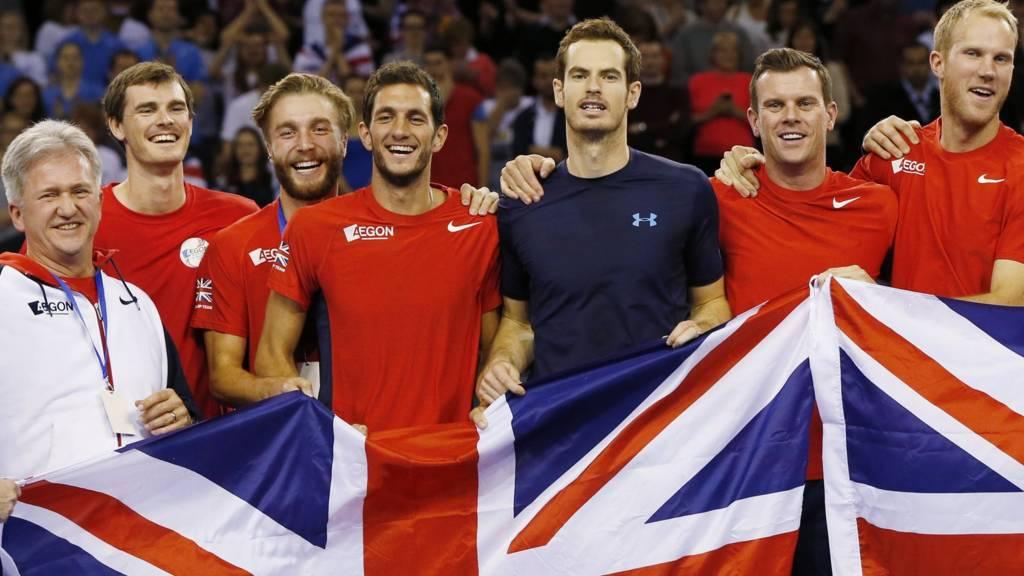Great Britain's Davis Cup side celebrate