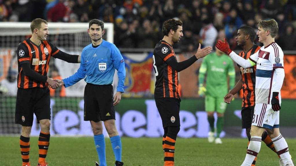 Shakhtar Donetsk and Bayern Munich players at full-time