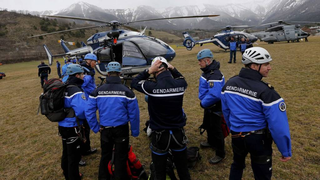 French Police and Gendarmerie Alpine rescue units near Seyne-les-Alpes, in the French Alps