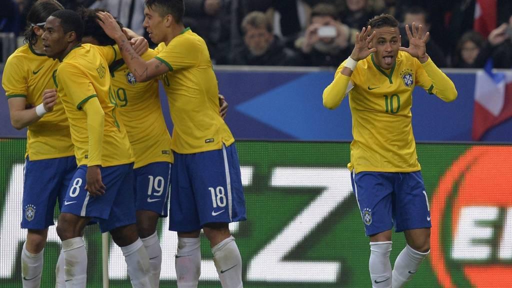 Neymar celebrates scoring