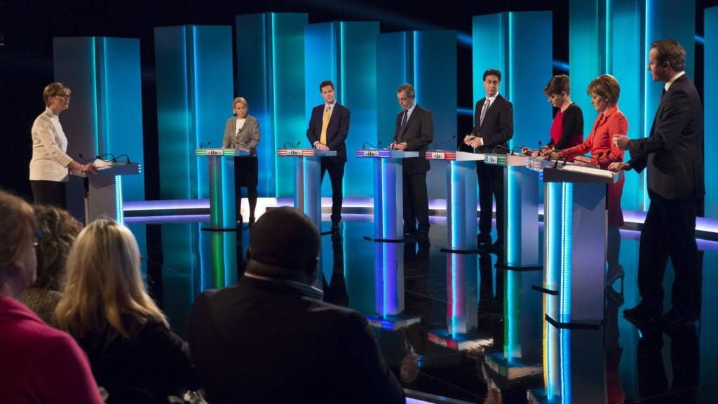 Leaders at the lecterns for the ITV studio debate