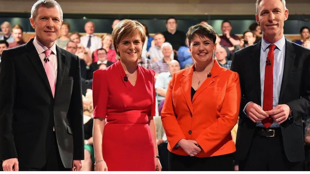 From left: Willie Rennie, Nicola Sturgeon, Ruth Davidson and Jim Murphy