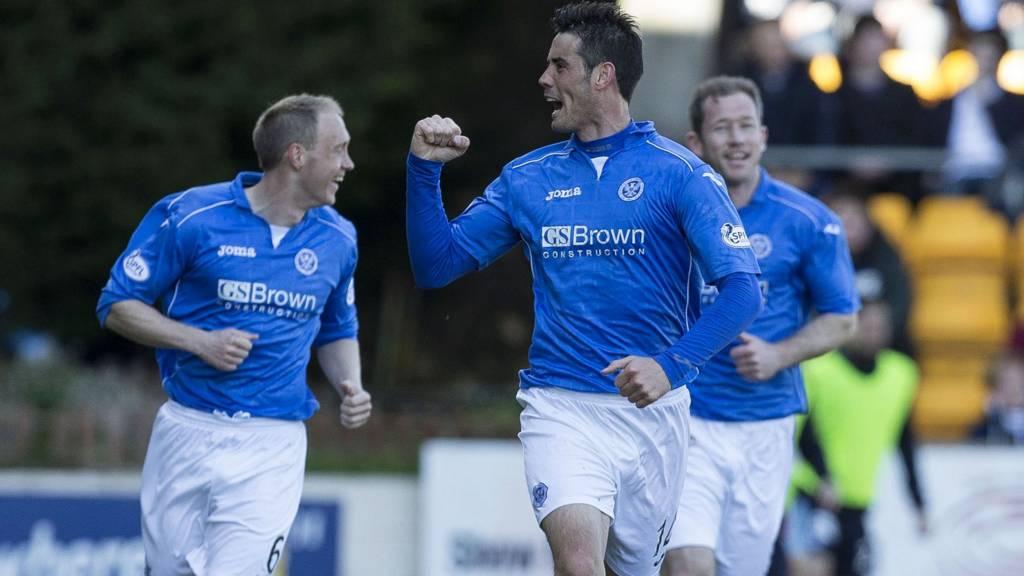 Brian Graham celebrates after scoring for St Johnstone against Dundee