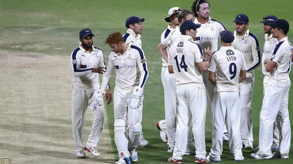 The Yorkshire cricket team celebrate a pre-season wicket