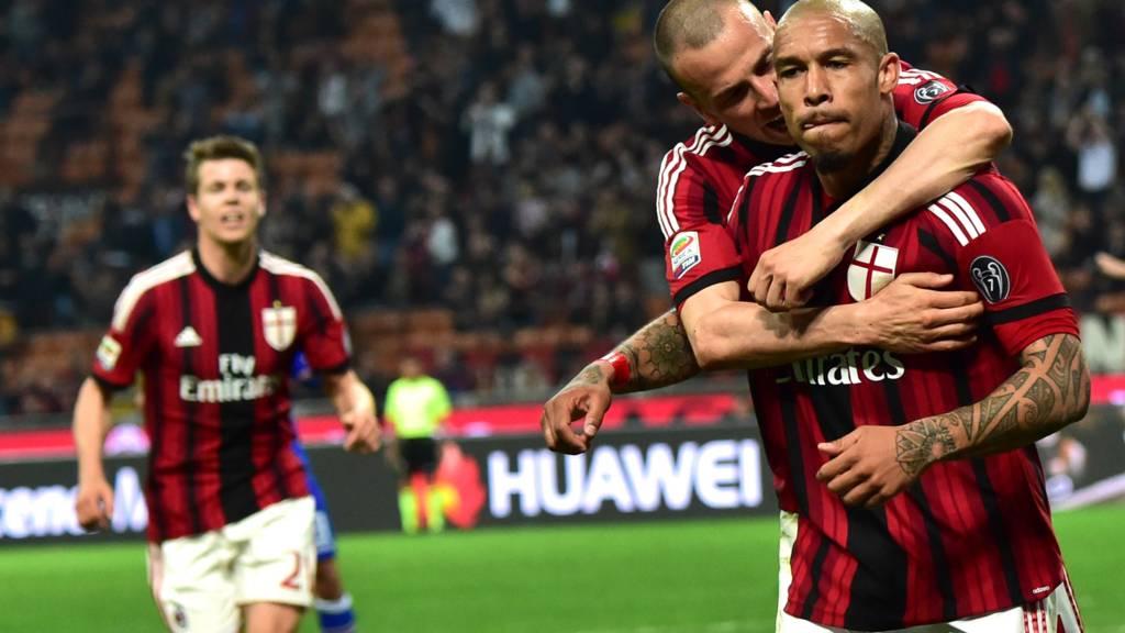 Nigel de Jong celebrates scoring for AC Milan against Sampdoria