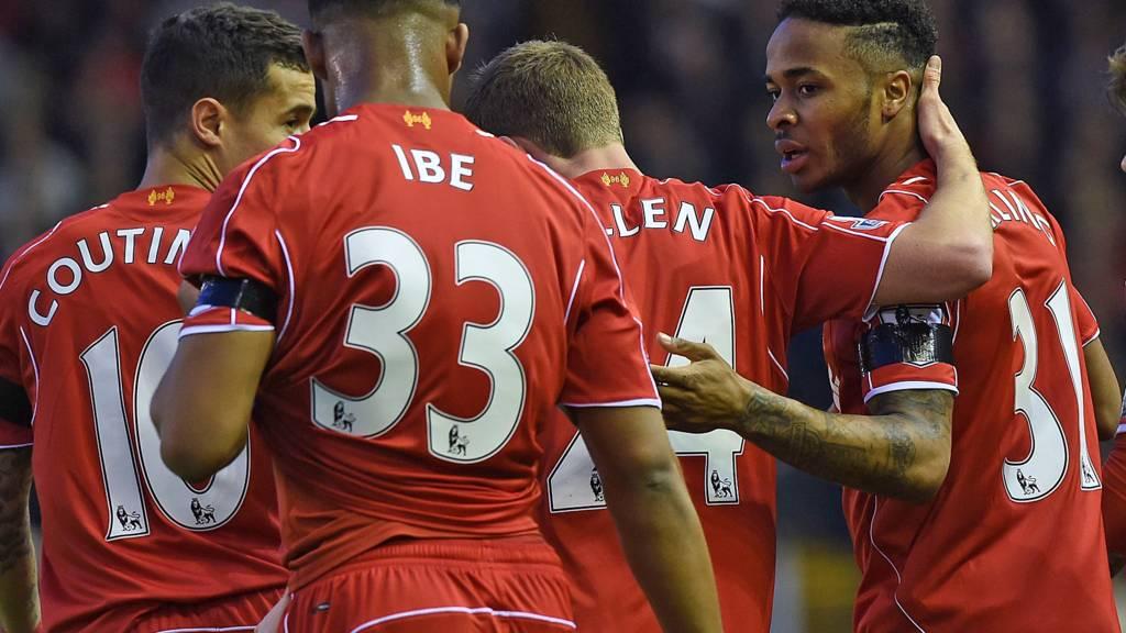 Raheem Sterling celebrates scoring