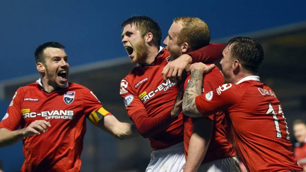 Ross County celebrate Liam Boyce's opening goal