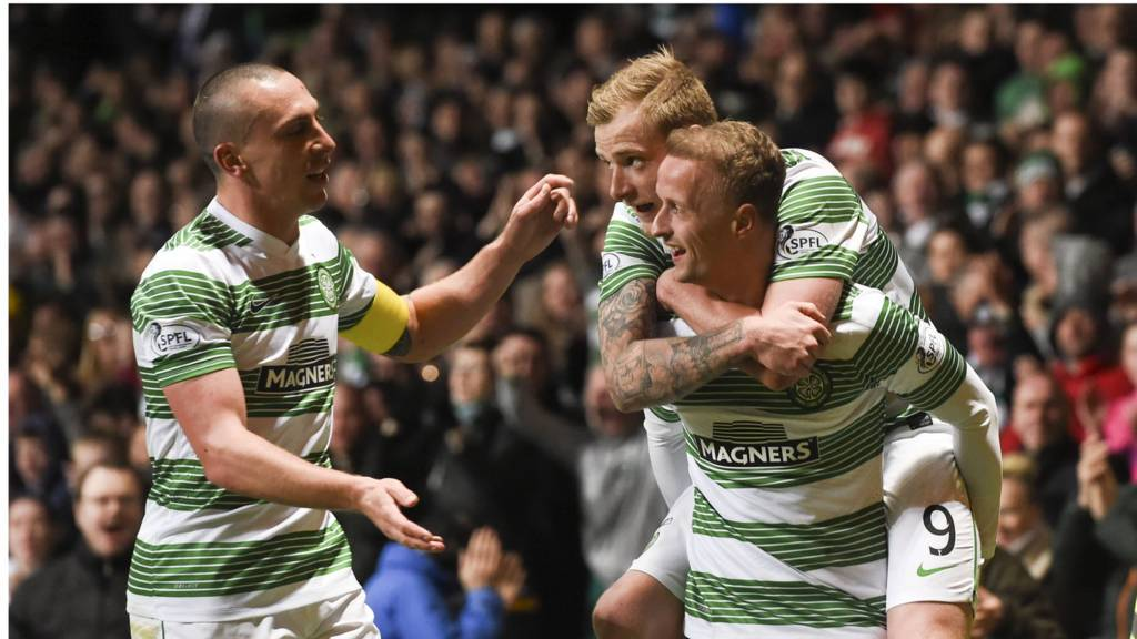 Leigh Griffiths (right) scored a hat-trick for Celtic