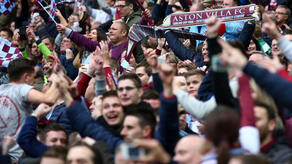 Aston Villa fans celebrate getting into the FA Cup final