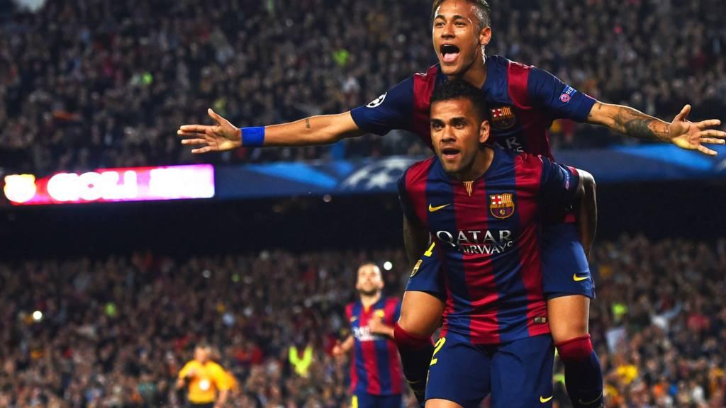 Neymar celebrates with Dani Alves
