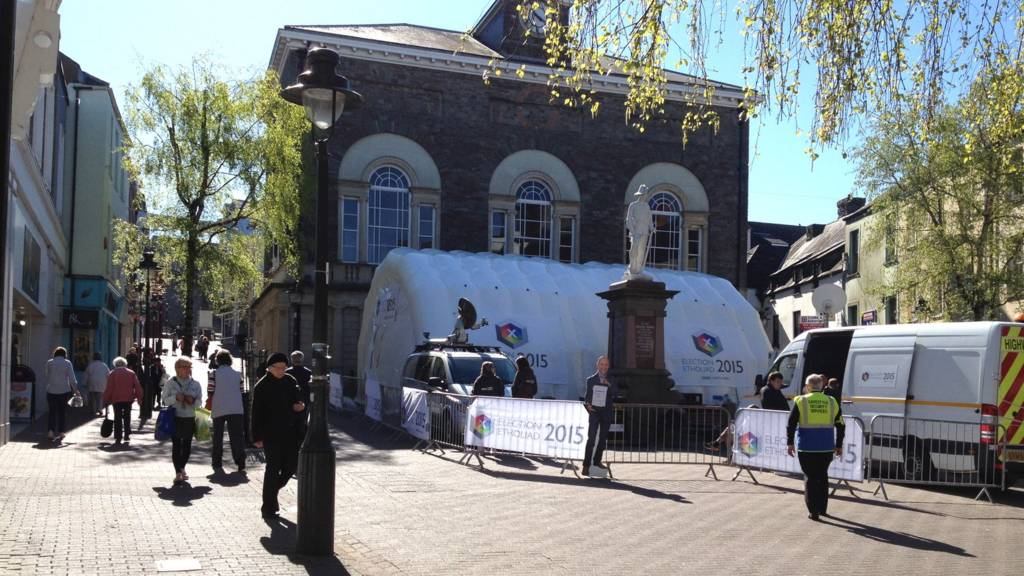 BBC Wales election tent in Guildhall Square, Carmarthen