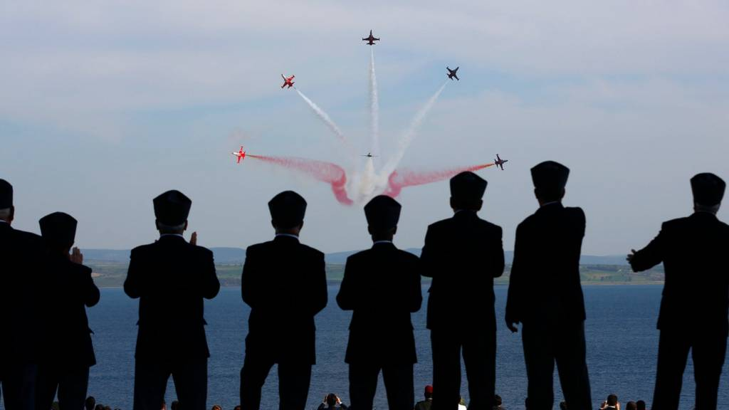 Fly-past of Turkish jets